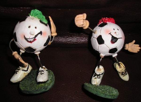 2 Mini Soccer Player Statues - Wire Figurines - NEW