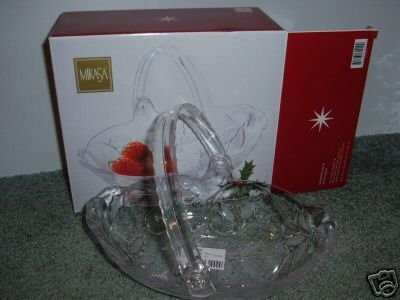 Mikasa Season's Seasons Holly Holiday Crystal Bowl Handle 9 INCH NEW