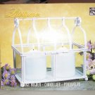 NEW White Metal & Glass RECTANGLE Candle Holder - Gift