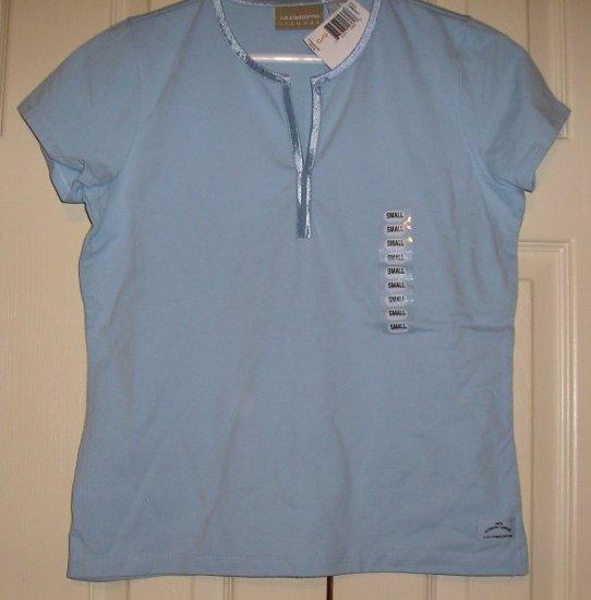 Liz claiborne stretch t shirt tee top blue sm 35 new for Liz claiborne v neck t shirts