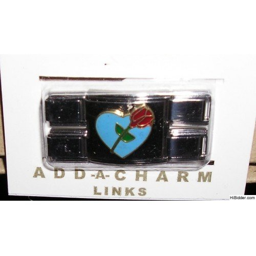 NEW Add-A-Link Charm and Connector - Heart and Rose