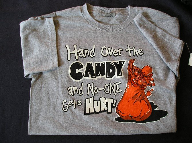 NEW Gray Halloween Humor Shirt Large Youth TShirt SALE!