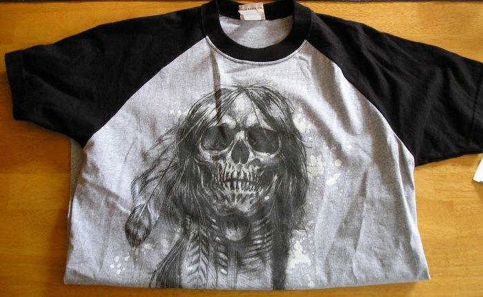New Mens Teens Boys Fifth Avenue Feather Skull TShirt Medium T-Shirt