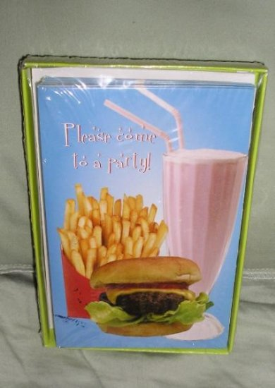 SALE Party Invitations 10 + Envelopes Burger + Fries CUTE!!