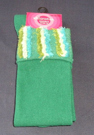 NEW Green with Funky Tops Knee Hi Socks Womens Boots Size 9-11 !
