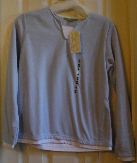 Carolyn Taylor Layer Fleece Top Shirt Womens Blue White New Small