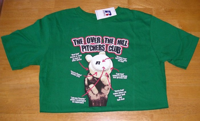 Over the Hill Pitcher Baseball T-Shirt TSHIRT Boys Green Large NEW