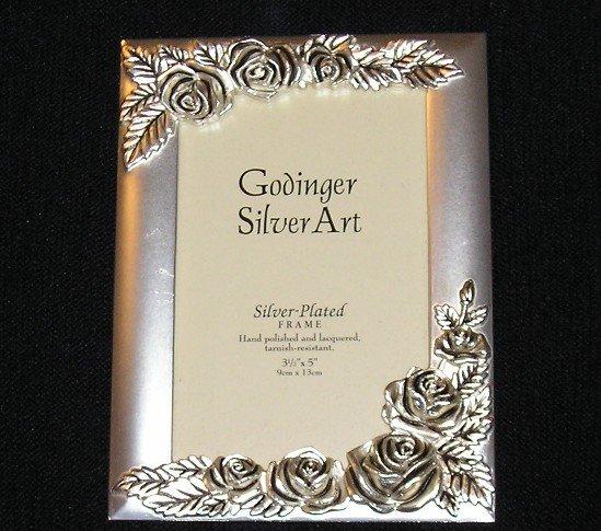 Godinger Silver Carved Rose Picture Frame 3.5 x 5 NEW Old Stock