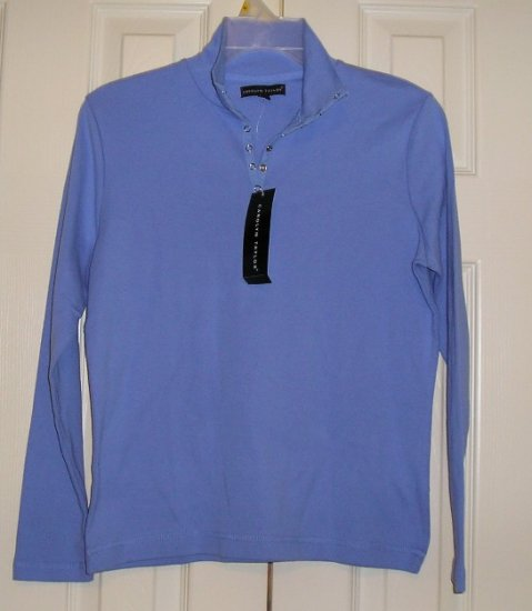 Carolyn Taylor Long Sleeve Cornflower Blue Womens Henley Size Small NEW