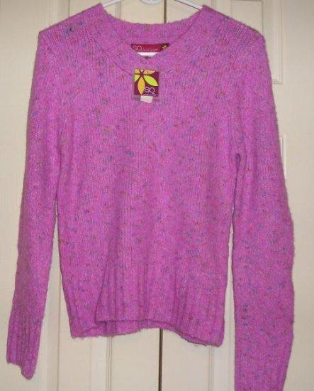 So Girls Teens Sweater XL Long Sleeve Knit Purple NEW