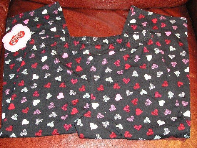 My Funny Valentine Girls Black Hearts Capris Capri Pants Large NEW