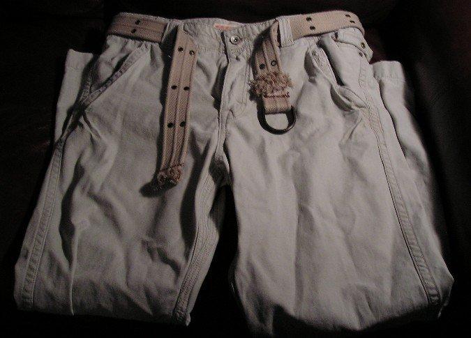 Mossimo Mens Tan Jeans Pants Destroyed 34 x 30 NEW Bonus Belt