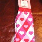 Womens Socks Teens Girls Argyle Pink Hearts NEW