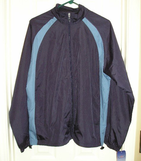 Mens Navy Blue Jerzees Wind Jacket Large NEW