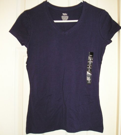 NEW Juniors Mossimo Stretch V-Neck T-Shirt Tagless Navy Small