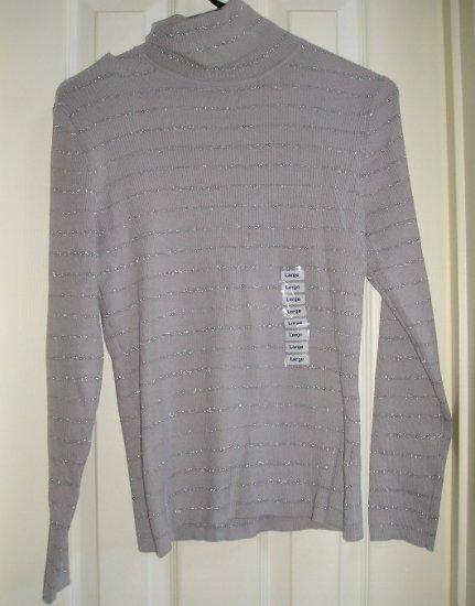 Style & Co Company Womens Petite Large Gray Sweater Glitter Stripes NEW