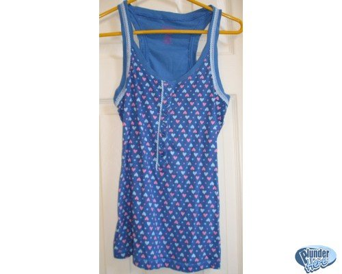Candies Blue with Hearts Sports Tank Womens Large NEW