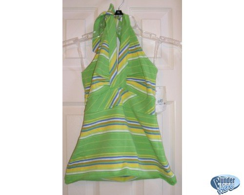 SO Junior Size Halter Top Tie-Neck Sz. Small GREEN Stripes