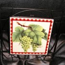 Country Grapes Trivet Giftco Tile Trivet Metal Trim NEW