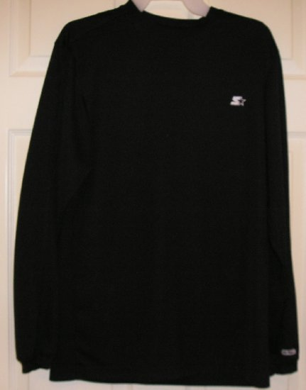 Mens Starter Brand Athletic Style Shirt Small Long Sleeve Black