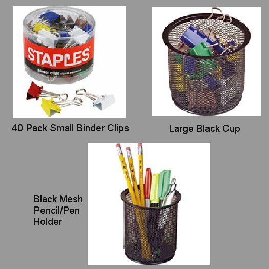 Lot of 3 NEW Office Items Binder Clips Pen Holder Large Mesh Black Cup