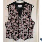 Womens Vest Medium Black Floral Print Sz 10 SAVE