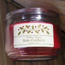 NEW Holiday Elegance Ruby Cranberry Scented Jar Candle 10 oz Candelite