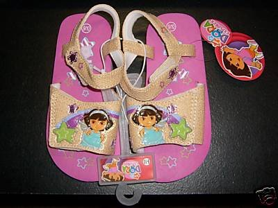 Dora the Explorer Sandals Tan with Pink Sz 11/12 NEW
