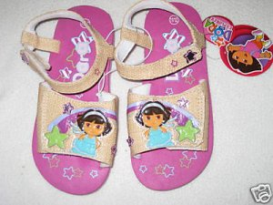 Dora the Explorer Sandals Tan with Pink Sz 9/10 NEW