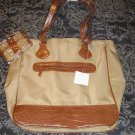 2 Piece Set Super Large Tote Bag + Matching Wallet - Faux Leather Trim  NEW