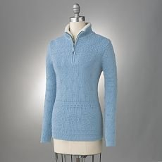 Womens Textured 1/4-Zip Sweater by Croft Barrow Light Blue Size Large NEW