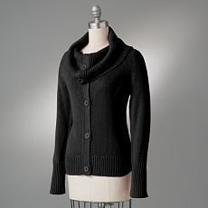 Womens Sailor Collar Cardigan Sweater Black Sz Large Requirements NEW