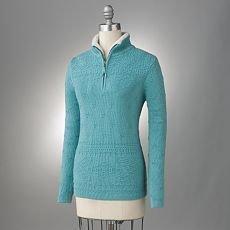 Womens Textured 1/4-Zip Sweater by Croft Barrow Blue Green Size Medium NEW