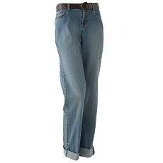 Womens Stretch Jeans Sz. 4 by Daisy Fuentes Cuffs + Belt NEW