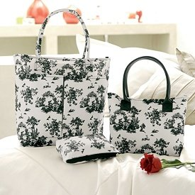 3 Piece Set Black White Toile Travel Set Tote + Bag + More NEW