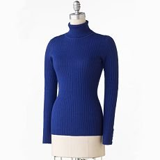 Daisy Fuentes Womens Sweater Long Sleeve Extra Large in Hyacinth XL Turtle Neck Ribbed Sweater NEW