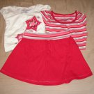 Girls 3 Pc Outfit Skort and Tee Long Sleeve Size 8 Red Hearts