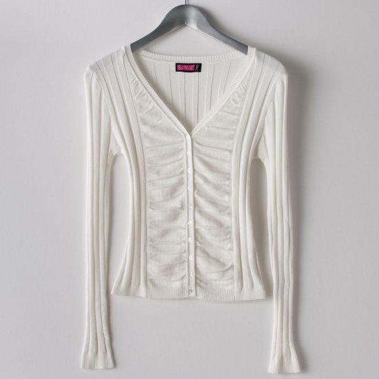 Juniors Solid Cardigan Sweater by Say What Ivory Sz. Large Ruched Style NEW