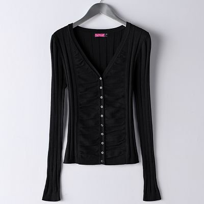 Juniors Solid Cardigan Sweater by Say What Black Sz. Medium Ruched Style NEW