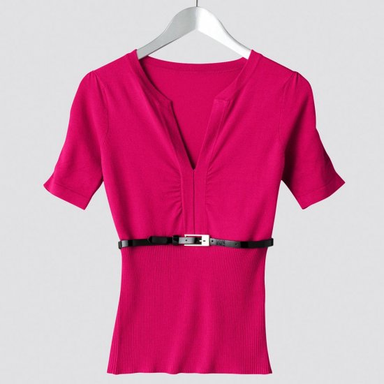 Juniors Solid Ruched Sweater by Say What Fuchsia Sz. Medium Short Sleeves + Bonus Skinny Belt NEW