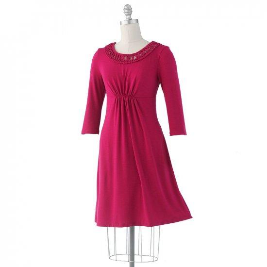 Womens BabyDoll Style Fuchsia Dress Small by Ab Studio Great Neckline NEW