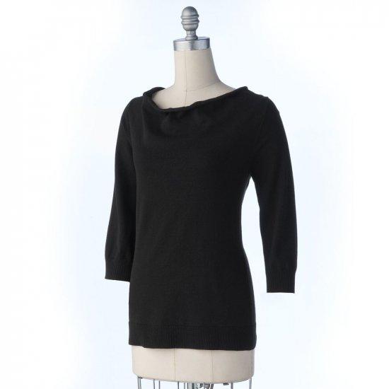 Ab Studio Drape Neck Crochet Sweater Womens Black Sz. Large NEW