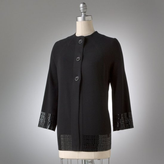 Womens Solid Cardigan Sweater in Black Sz. Large Dana Buchman Embellished Details NEW
