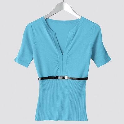 Juniors Solid Ruched Sweater by Say What Blue Sz Extra Large XL Short Sleeves + Bonus Belt NEW