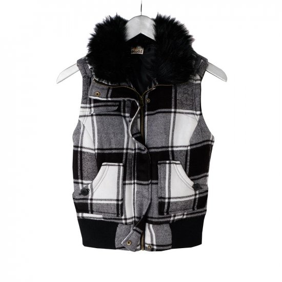 Juniors Plaid or Checkered Vest by Mudd Size Small Black White NEW