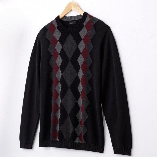 Mens Argyle Style Sweater XXL or 2XL Crew Neck Black NEW