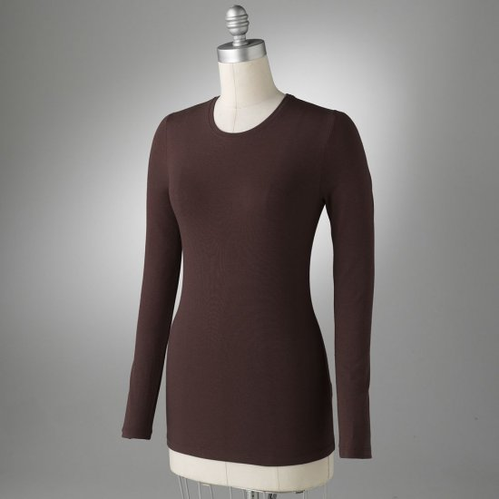 Apt. 9 Womens Stretch Tee Top or Shirt Long Sleeves Brown Sz Medium NEW