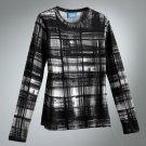 Vera Wang Plaid Top Shirt Tee Long Sleeves Black White Sz. Extra Small NEW