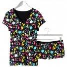 NEW Pajama SET BLACK Paint Splatter Set Jrs. Size MEDIUM 2 Pc PJ SET