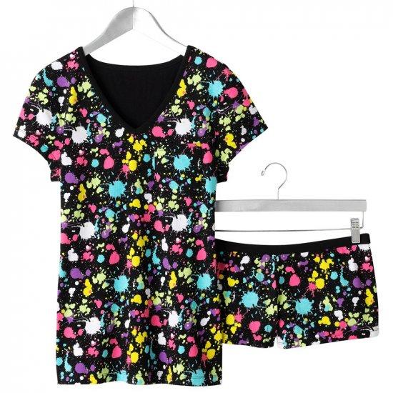 NEW Pajama SET BLACK Paint Splatter Set Jrs. Size Large 2 Pc PJ SET